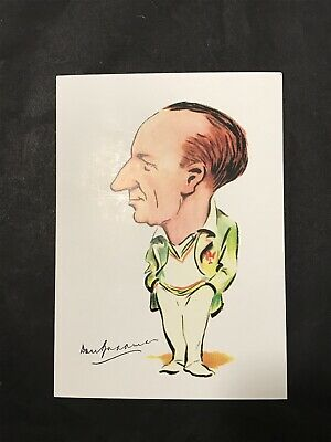 Repro Art Postcard SIR DONALD BRADMAN Caricature by Arthur Mailey 1948