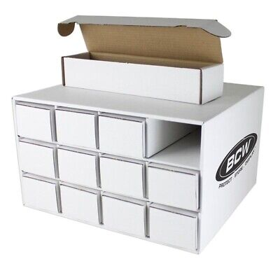 Stackable Sports Card House with 12 800 Count Corrugated Cardboard Storage Boxes