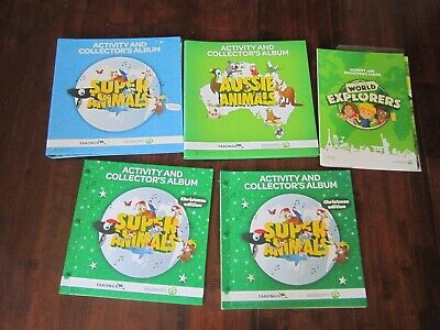 5 x Woolworths Activity and Collector's Albums BULK LOT with 370 cards