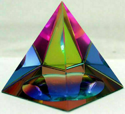 "Crystal Iridescent Pyramid - Rainbow Colors 2.3"" with Gift Red Box"