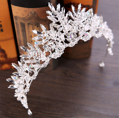 Women Girl Retro Clear Crystal Ice Queen Rhinestone Hair Tiara Crown Headband