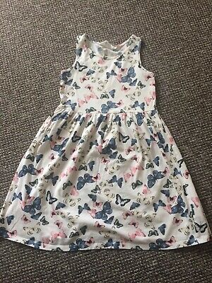 H&M Girls cream butterfly print dress Age 8-10 Years