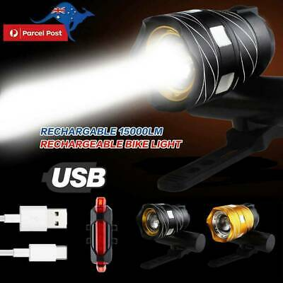 15000LM Bike Front Rear Light Set Bicycle LED USB Rechargable Lamp Flashlight