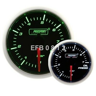 52Mm Prosport Stepper Motor Smoked Green / White Oil Pressure Gauge - Bar