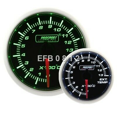 52Mm Prosport Stepper Motor Green / White Exhaust Gas Temperature / Egt Gauge