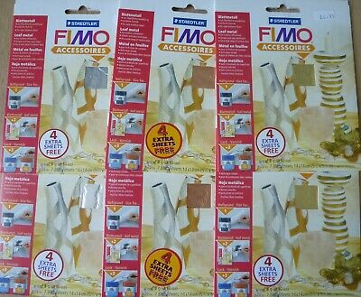 Staedtler Fimo Leaf Metal Sheets x 6 Packs, Gold, Silver & Copper