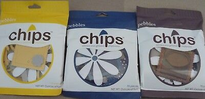 Pebbles Inc Chips x 3 packs printed & glittered chipboard shapes Navy Brown Sun