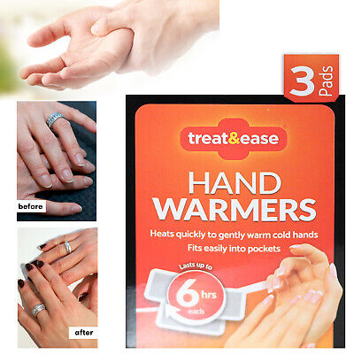 Treat & Ease Hand Warmers  Heat Warming Hot hands Outdoors Work Camping 6hrs