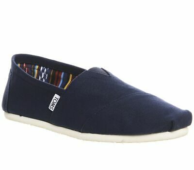 Mens Toms Classic Slip Ons Navy Canvas Casual Shoes