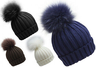 New Winter Fashion Kids Children Unisex Warm Beanie Hat Huge Real Fur Pom Bobble