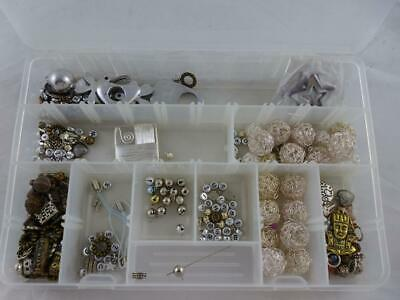 Assorted Sterling Silver (?) Jewellery Making - beads, pendants, bells, letters