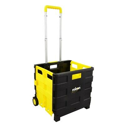 25kg Lightweight Folding Boot Cart - Rolson Rolling Shopping Basket Folds Flat