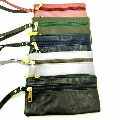 UK Women Ladies Men Genuine Leather Small Coin Card Key Ring Wallet Pouch Purse