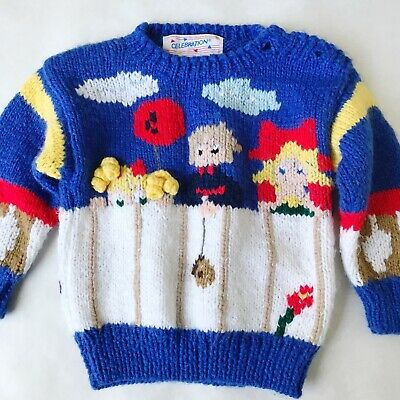 1990s Vintage 3D Novelty Sweater Size 2T Acrylic Knit Boy Girl Balloon Pigtails