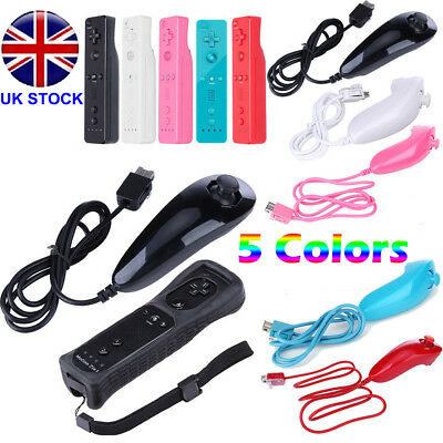 REMOTE CONTROLLER and NUNCHUCK FOR NINTENDO WII & WII U +SILICONE + STRAP Set