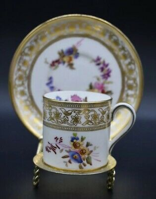 Hammersley Teacup & Saucer Hand Painted Flowers Gold Floral Rim 12673 M