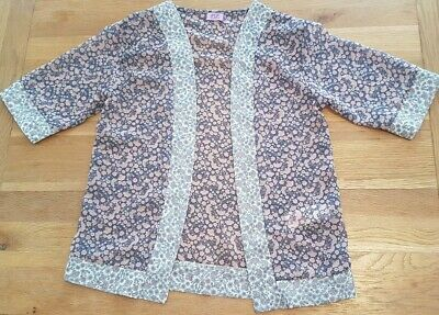 Girls thin blouse material cardi age 7-8 flower pattern F&F