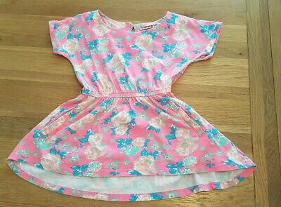 Girls bright pink short flowery dress with pockets age 5-6 shopdirect