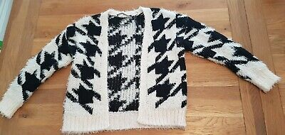 Girls black and white pattern thick fluffy cardigan age 7-8 george