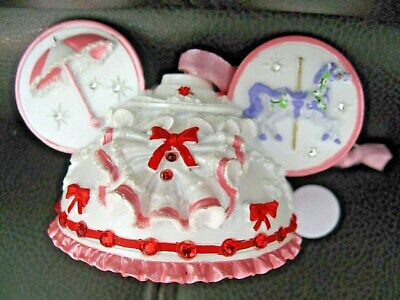 Disney Parks Mary Poppins Hat/Ear Ornament Pink and White NWT