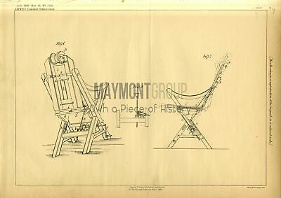 Chairs Down Original Patent Lithograph 1888