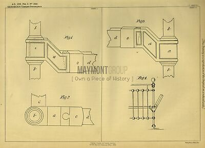 Furniture Corner Blocks Kendrick Original Patent Lithograph 1888