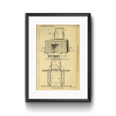 Furniture Vanity Collins Original Patent Lithograph 1889