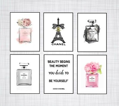 Set Of 6 Coco Chanel Art Perfume Bottle A4 Prints + Chanel Quote Dressing Room