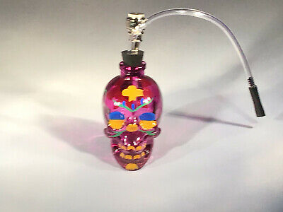 Glass Painted Skull Water Bong Hookah Purple Bubbler Smoking  Pipes US Seller