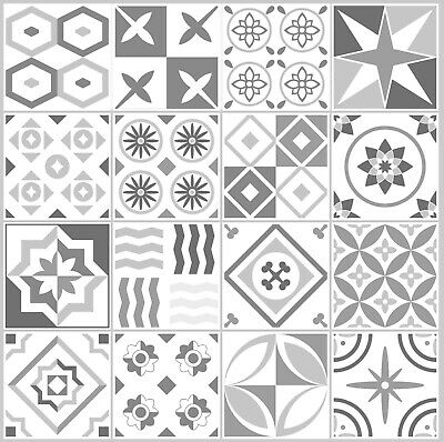 Mosaic Tile Stickers GREY Azulejo Talivera for 150mm x 150mm 6 Inch Tiles G21