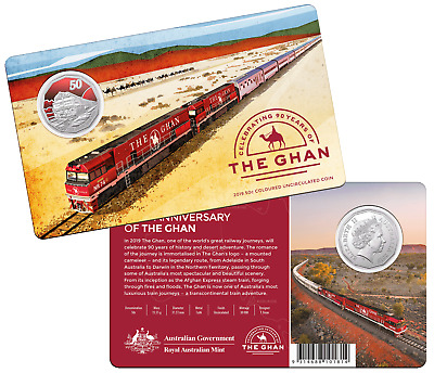 Australia 2019 CuNi Unc Carded 50c Coin. The 90th Anniversary of The Ghan