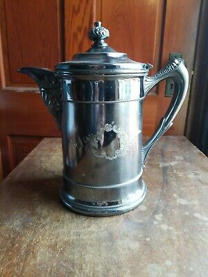 Antique 1878 Silver Plate Enamel Lined SUPERIOR SILVER Ice Water Pitcher 11""