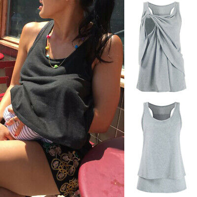 Women' Maternity Nursing Solid Double Layer Sleeveless Blouse T-Shirt Tops S-3XL