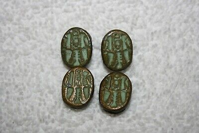 4 Brass/Bronze Egyptian Antique Scarab