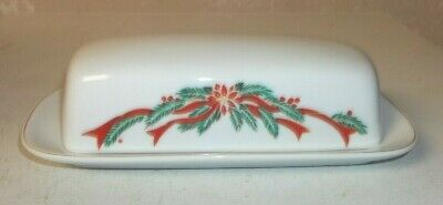 Vintage Porcelain Poinsettia & Ribbon China Covered Butter Dish