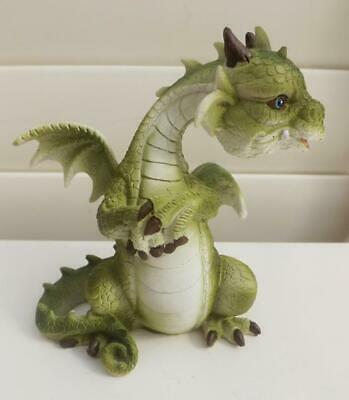 13cm CUTE  PUFF DRAGON FIGURINE A STATUE GREEN POLY RESIN FREE POST