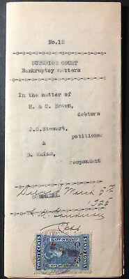 1917 St Francis Quebec Canada Bankruptcy Document Cover Las Stamp Rare
