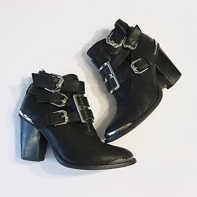 Jeffrey Campbell NATHAN-MPS Black Box Silver Studded Pointed Buckle Ankle Bootie
