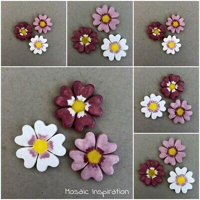 CERAMIC COSMOS FLOWERS x3 ~ Mosaic Tile, Mosaic Inserts, Art, Craft