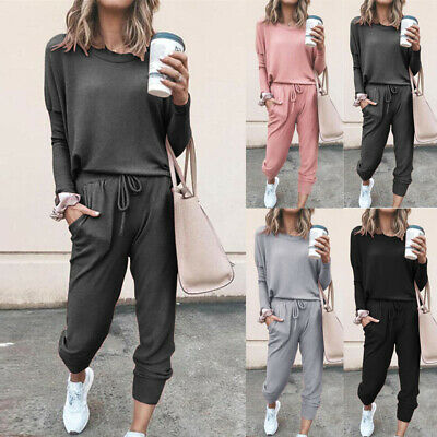2Pcs Womens Tracksuit Hoodies Casual Solid Baggy Tops+Pants Set Lounge Wear