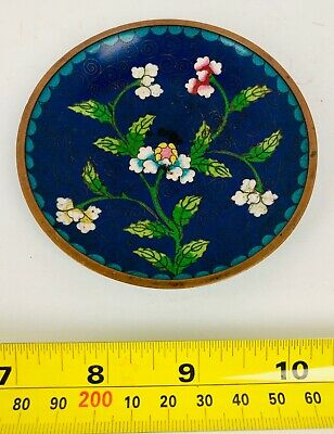 Vintage Antique Cloisonne Enamel Asian Chinese Round Pin Tray Blue With Flowers