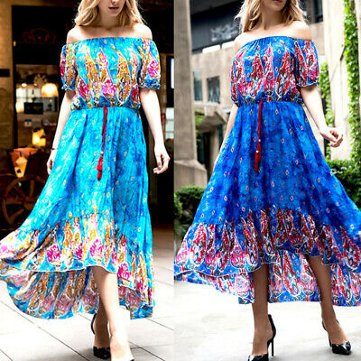 Womens Boho Summer Beach Evening Party Short Sleeve Lace-up Long Maxi Dress