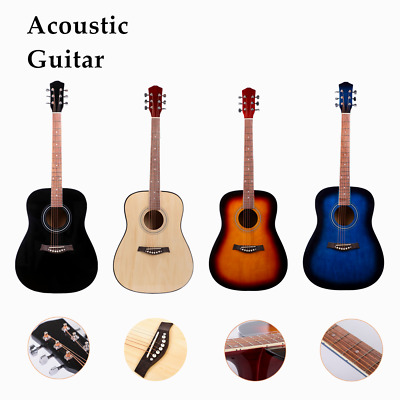 "41"" Classical Acoustic Guitar w/ Nylon Case,Strap,Tuner Pick Brown Blue"