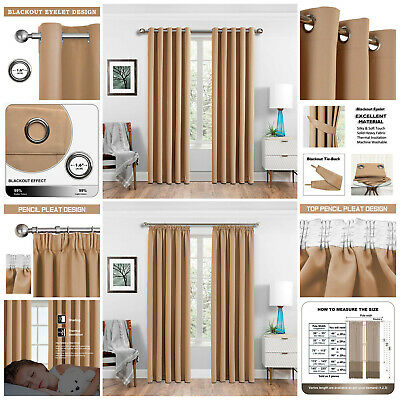 Thick Thermal Blackout Eyelet Ring Top Pencil Pleat Ready Made Lined Curtains