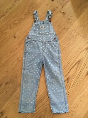 Osh kosh B'gosh Polka Dot Girls 5T Dungarees Excellent Condition