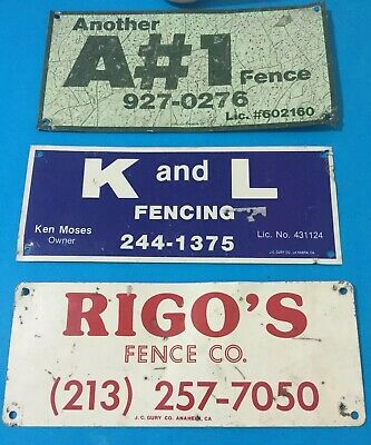3 Old Metal Fence Signs