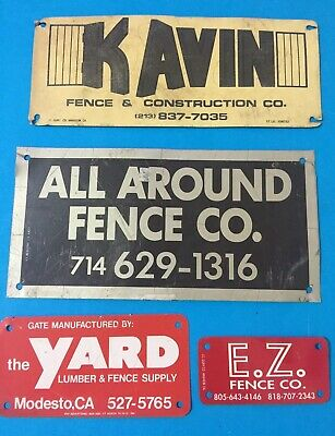 4 Old Metal Fence Signs