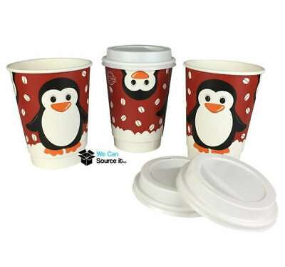 1000 x 12oz Festive Christmas Penguin Paper Coffee Takeaway Cups & White Lids
