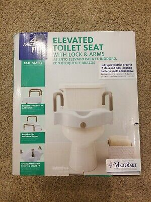 Medline Elongated Raised Toilet Seat With Arms Elevated Riser