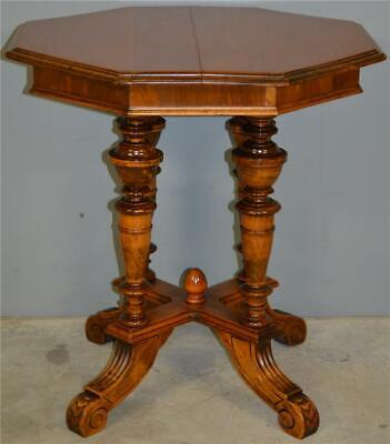 17917 German Walnut Octagon Carved Parlor Stand